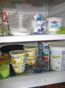 Yogurt-snobs: I count 5 different flavors, 4 different fat percentages, and 1 homemade raw onion yogurt