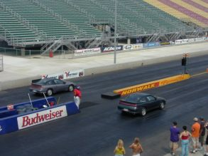 At the drag strip, college years